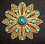 Vtg Gold Sterling Vermeil Turquoise Brooch Pendant