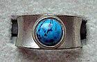 Jorgen Jensen Signed Pewter Ring w/ Blue Stone Denmark