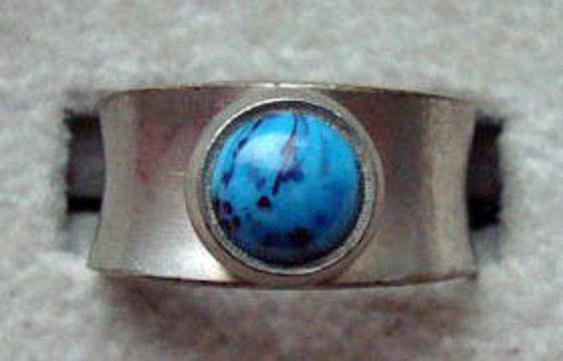 Jorgen jensen signed pewter ring w blue stone denmark for Jewelry store needham ma