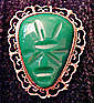 Large Sterling Taxco Mexico Aztec Mask Pin Geen Jade