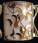 Large Panel Bracelet Goldtone w/ Gold Flecks Signed