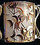 Large Panel Bracelet Goldtone w/ Gold Flecks Signed