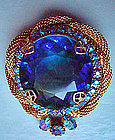 Vintage Cobalt Blue Diamond Cut Stone Brooch c. 1950