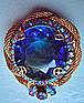 Vintage Cobalt Blue Diamond Cut Stone Brooch c. 1950's