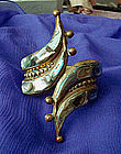 Taxco Mexico Brass Abalone Hinged Bracelet Marked