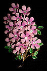Pink Enamel Bouquet of Flowers Rhinestones c. 1950