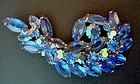 Fine Brooch Cobalt Blue & Irridescent Glass Rhinestones