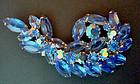 Fine Brooch Cobalt Blue & Irridescent Glass Rhinestones