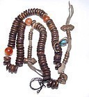 Tibetan Wooden Mala Prayer Beads w/ Counters