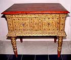 Rare Burmese Glass Inlaid Gilded Table