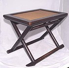 Chinese Folding Elmwood Lacquered Stool - 18th Century