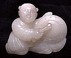 Chinese White Jade Drummer Boy