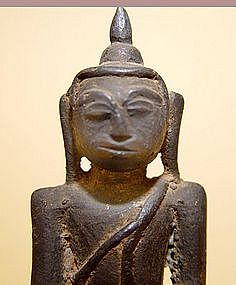 A Seated Burmese Bronze Buddha -  17th/18th Century