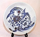 Chinese Blue & Red Underglaze Plate - Qing Dynasty