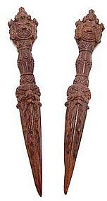 Pair Of Tibetan Iron Phurbu Daggers - 19th Century