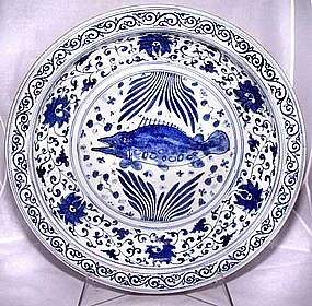 Lg. Chinese Blue & White Charger - Yuan Style - 19th C.