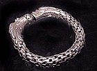 Chinese 2 Headed Silver Dragon Bracelet - Qing 19th C.