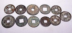 Eleven Han Dynasty Coins - 220 BC - 220 AD