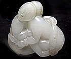 Chinese White Erotic Jade of Two Lovers - Qing