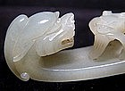 Chinese Jade Belt Hook with Two Dragons - 19th C.