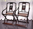 Rare Pair of Chinese Lacquered Folding Chairs - 18th C.