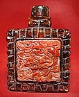 Chinese Amber Snuff Bottle and Carved Coral Tiles