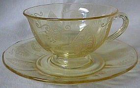 Fostoria Trojan Topaz Cup and Saucer