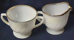 Fire King Golden Swirl Creamer and Sugar