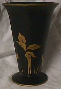 Tiffin Black Satin Vase Gold Jack in the Pulpit