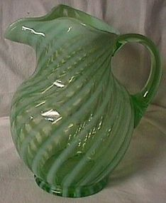 Fenton Spiral Optic Green Opalescent Pitcher
