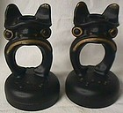 Tiffin Glass Black Satin Frog Candlestick Pair