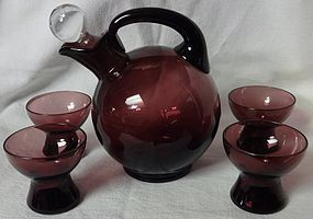 Cambridge Amethyst Cordial Decanter and 4 Shots