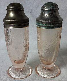 Florentine Number 1 Pink Pair Shakers Hazel Atlas Glass