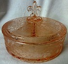 Oakleaf Rose Candy Box & Cover Fostoria Glass