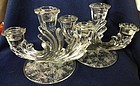 Chintz Pair Trindle Three Lite Candleholders Fostoria