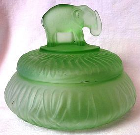 Elephant with Trunk Up Powder Jar Green Frosted