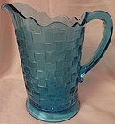 Basketweave Blue Pitcher 8.75