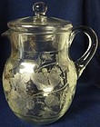 Rose Etched Crystal Pitcher & Lid 9.5