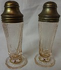 Royal Lace Pink Shaker Pair Hazel Atlas Glass Company