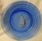 Moderntone Cobalt White Ship Luncheon Plate 7.75