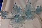 Meadow Rose Azure Pair Flame Duo Candlesticks 12.5