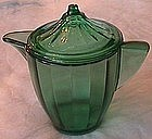 Akro Agate Interior Panel Green Teapot and Lid