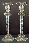 Pair of Art Nouveau Engraved Crystal Candle Holders