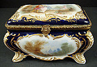 Antique Paris Porcelain Scenic Jewel Casket