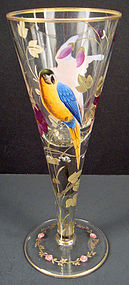 Antique Bohemian Enameled Goblet with Parrots
