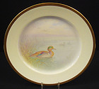 "Fabulous Antique Lenox Cabinet Plate, ""Teal Duck"""