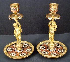 Victorian Figural Champlev� Gilt Candlesticks