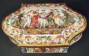 Antique Capodimonte Porcelain Jewel Casket