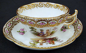 Dainty Antique Berlin Demitasse Cup & Saucer