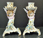 Adorable Antique Dresden Cherub Candle Holders